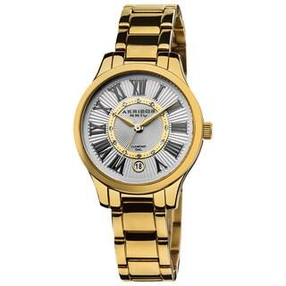 Akribos XXIV Women's Goldtone Stainless Steel Diamond Bracelet Watch with FREE Bangle - Black