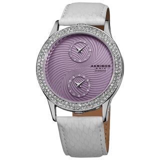 Akribos XXIV Women's Diamond Dual Time Swiss Quartz Leather Strap Watch