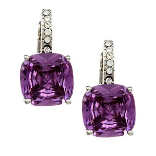 City by City City Style Silvertone Purple and White Cubic Zirconia Earrings|https://ak1.ostkcdn.com/images/products/7728538/7728538/City-Style-Silvertone-Purple-and-White-Cubic-Zirconia-Earrings-P15130119.jpg?_ostk_perf_=percv&impolicy=medium