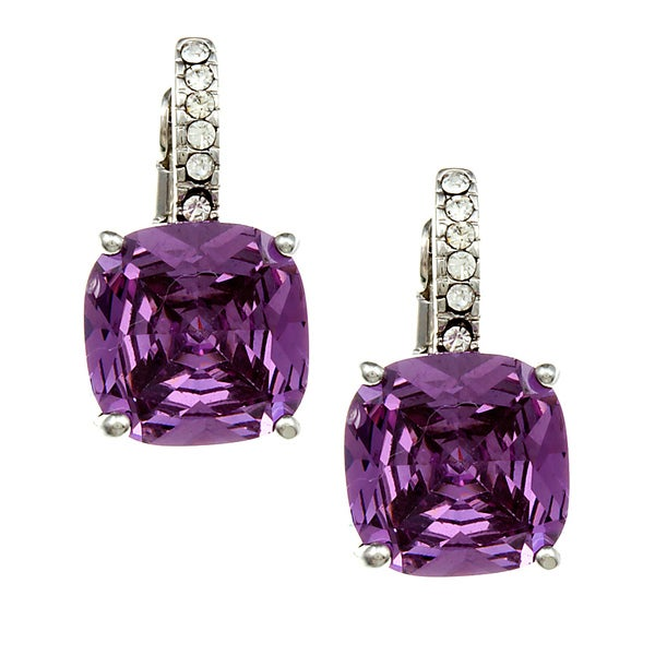 City by City City Style Silvertone Purple and White Cubic Zirconia Earrings