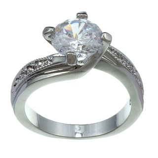 City by City City Style Silvertone Clear Cubic Zirconia Wedding-style Ring