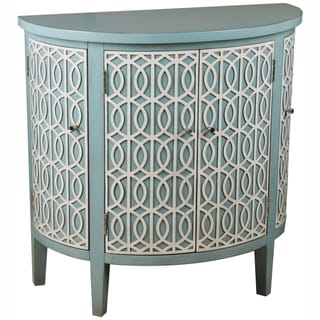 Hand-painted Blue Finish Demilune Accent Chest