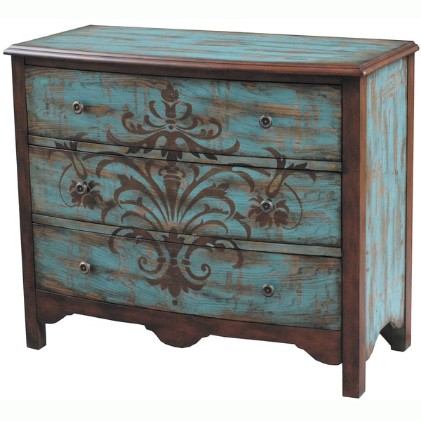 Hand Painted Distressed Walnut And Blue Finish Accent
