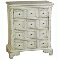 Hand Painted Distressed Antique White Finish Accent Chest