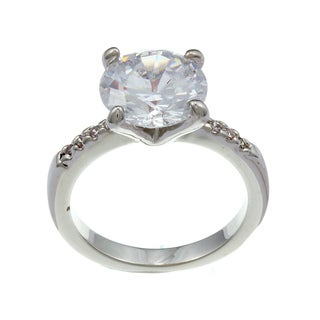 City by City City Style Silvertone Clear Cubic Zirconia Thin Ring