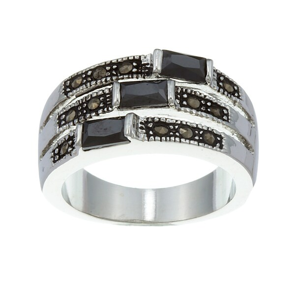 City by City City Style Silvertone Black Cubic Zirconia and Marcasite Ring