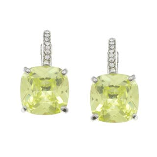 City by City City Style Silvertone Light Green and White Cubic Zirconia Earrings|https://ak1.ostkcdn.com/images/products/7728625/7728625/City-Style-Silvertone-Light-Green-and-White-Cubic-Zirconia-Earrings-P15130192.jpg?impolicy=medium