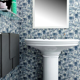 SomerTile 12x12-inch Reflections Versailles Gulf Glass and Stone Mosaic Wall Tile (Case of 10)