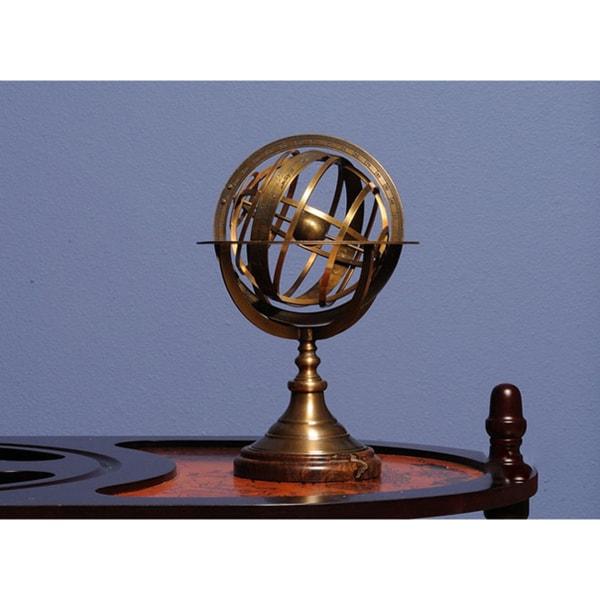 Old Modern Handicrafts Brass Armillary Sphere On Wooden Base