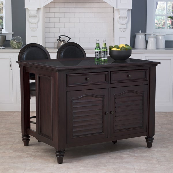 Home Styles Bermuda Kitchen Island and Two Stools