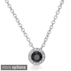 Finesque Sterling Silver 1/4 to 1ct TDW Black Diamond Halo Necklace
