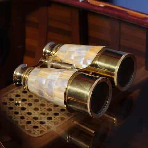 Old Modern Handicrafts Mother of Pearl and Brass Binocular Pair with Wooden Case
