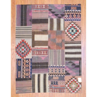 Herat Oriental Afghan Hand-woven 1960s Semi-antique Tribal Patchwork Kilim Multi-colored Wool Rug (5' x 6'10)