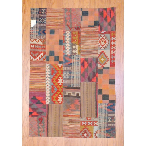 Herat Oriental Antique Afghan Hand-woven Tribal Patchwork Kilim Multi-colored Wool Rug (4' x 6'1)
