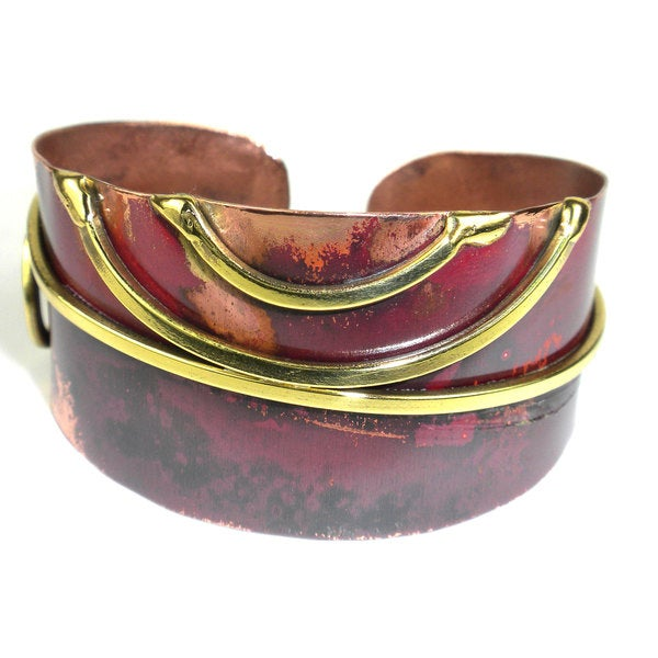 Handmade Red Copper and Brass Scroll Cuff (South Africa)