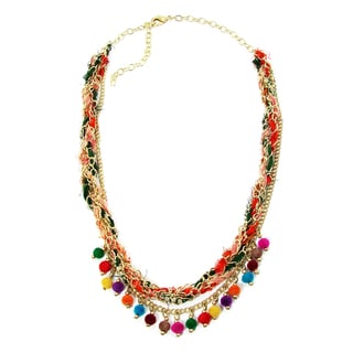 Handmade Multicolor Kantha Carnival Necklace (India)
