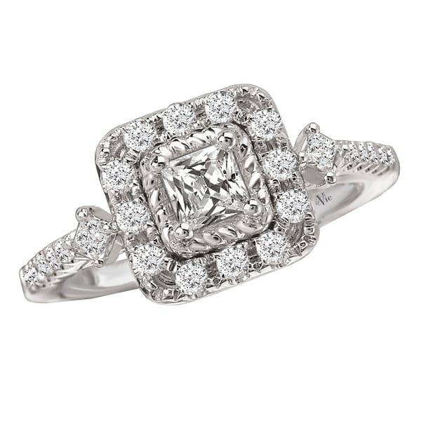 Avanti 14k White Gold 3/4ct TDW Diamond Halo Engagement Ring (G-H, SI1-SI2)