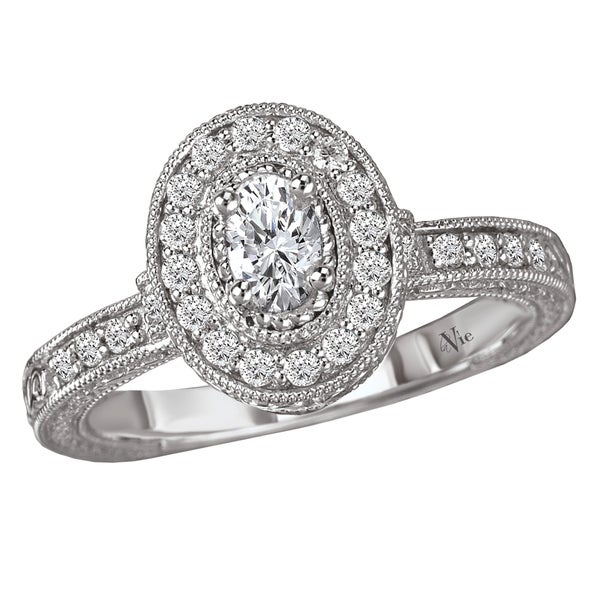 Avanti 14k White Gold 1/2ct TDW Diamond Milligrain Engagement Ring (G-H, SI1-SI2)
