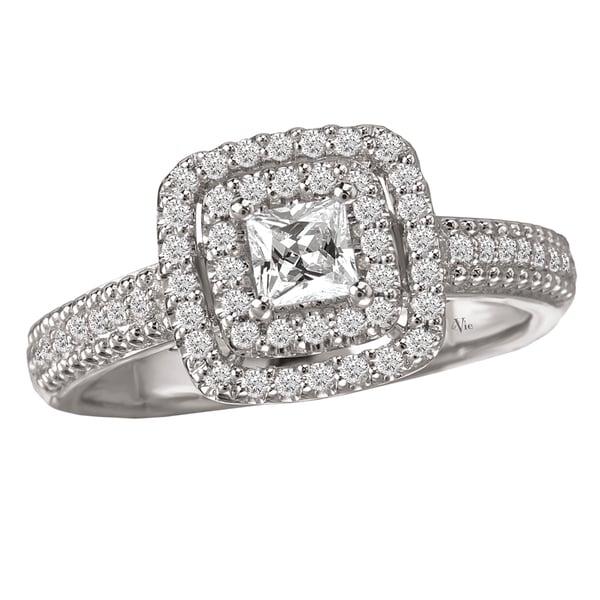 Avanti 14k White Gold 1/2ct TDW Round Diamond Halo Engagement Ring (G-H, SI1-SI2)