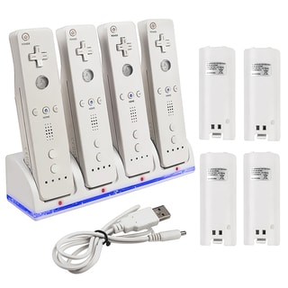 INSTEN 4 Port Charging Station with 4 Battery for Nintendo Wii