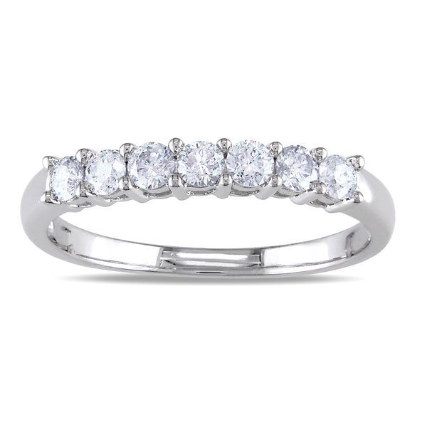 Miadora 14k White Gold 1/2ct TDW Certified Diamond Wedding Band (G-H, I1-I2)