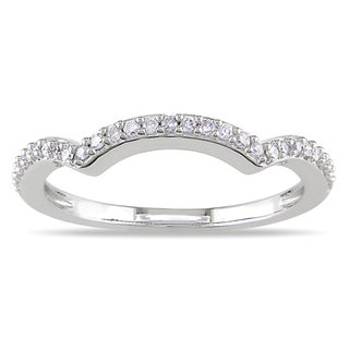 Miadora 14k White Gold 1/6ct TDW Curved Diamond Anniversary Ring