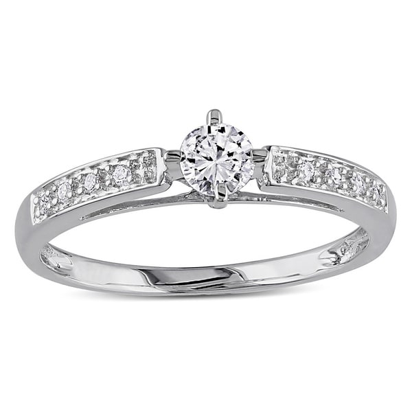 Miadora 10k White Gold 1/4ct TDW White Round Diamond Ring