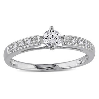 Miadora 10k White Gold 1/4ct TDW White Round Diamond Ring
