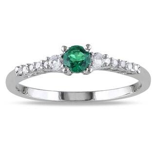 Miadora Sterling Silver Gemstone and Diamond Ring