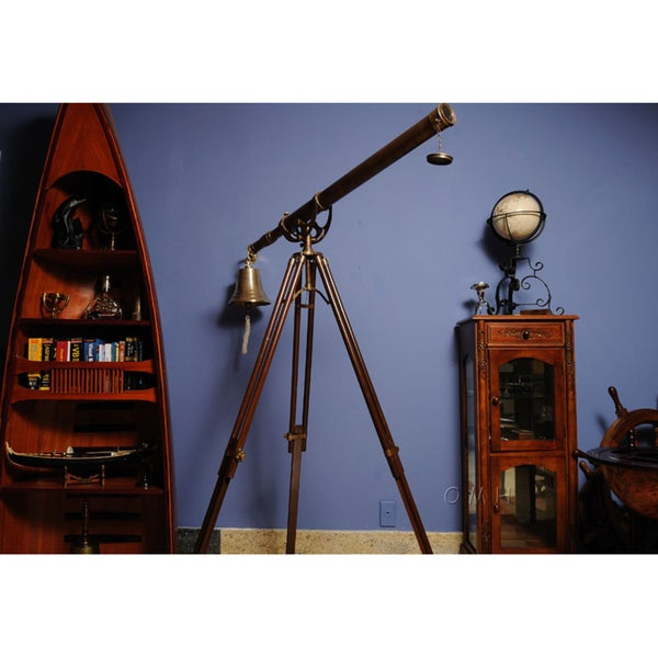 Old Modern Handicrafts 40-Inch Brass Harbor Telescope with Stand