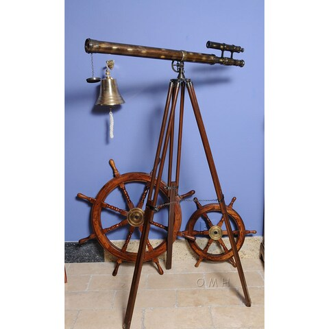 Old Modern Handicrafts 40-Inch Brass Double Barrel Harbor Telescope with Stand