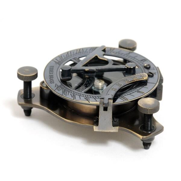 Old Modern Handicrafts Medium Sized Brass Sundial Compass with Wooden Case
