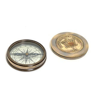 Old Modern Handicrafts Brass Makers to the Queen Compass with Leather Case