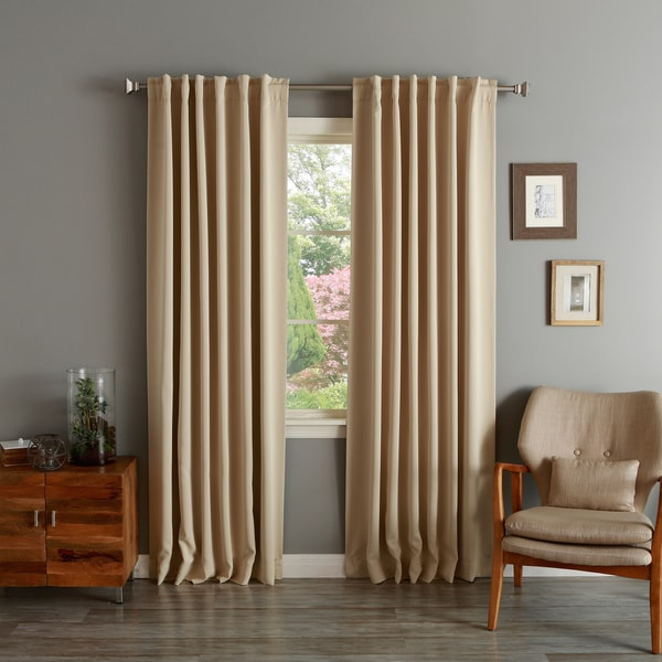 Aurora Home Solid Insulated Thermal Blackout 120-inch Curtain Panel Pair - 52 x 120. Opens flyout.
