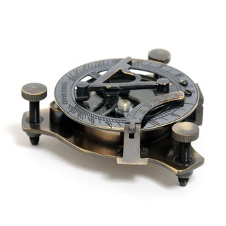 Old Modern Handicrafts Small Sized Brass Sundial Compass with Wooden Case