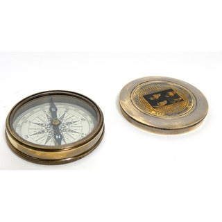 Old Modern Handicrafts Brass Beatles Compass with Leather Case