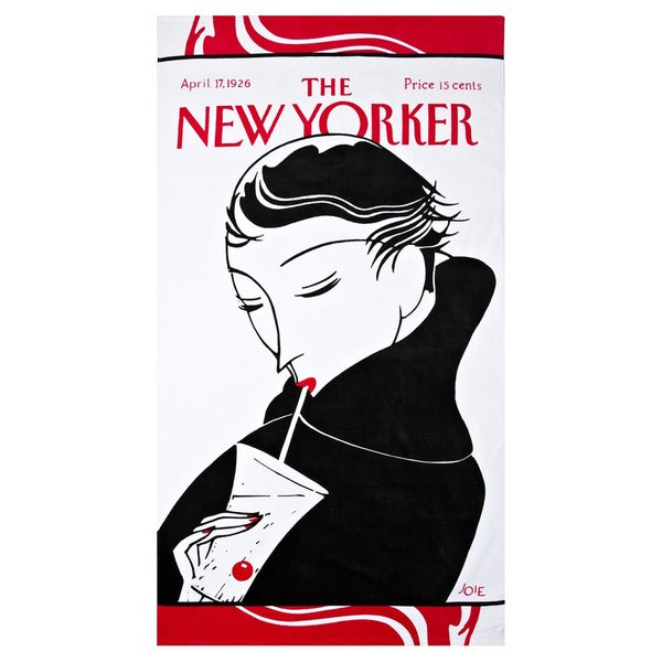Girl With Goblet New Yorker Beach Towel