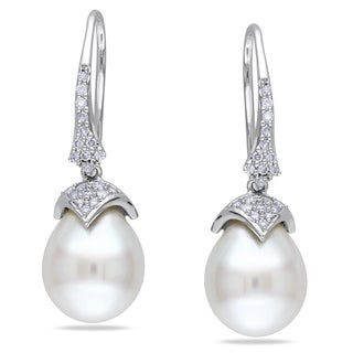 Miadora 14k White Gold Pearl and 1/4ct TDW Diamond Earrings (G-H, I1-I2)