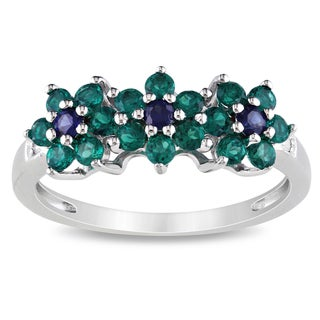 Miadora Sterling Silver Created Sapphire, Emerald, and Diamond Ring