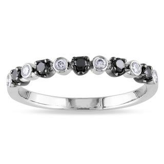 Miadora 14k Gold 1/4ct TDW Black and White Diamond Band
