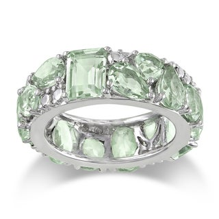 Miadora Sterling Silver Green Amethyst Ring