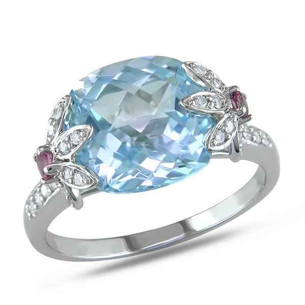 Miadora 10k White Gold Gemstone and 1/6ct TDW Diamond Ring (G-H, I1-I2)