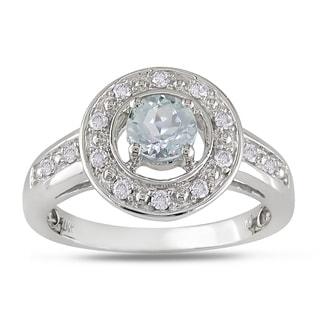 Miadora 10k White Gold Aquamarine and 1/6ct TDW Diamond Ring (H-I, I2-I3)