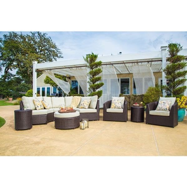 Corvus Melrose 8 Piece Brown Wicker Patio Furniture Set   Free Shipping  Today   Overstock.com   15130522