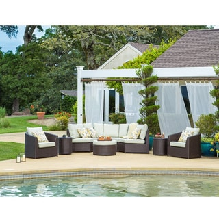 Corvus Melrose Outdoor 8-piece Brown Wicker Sofa Set