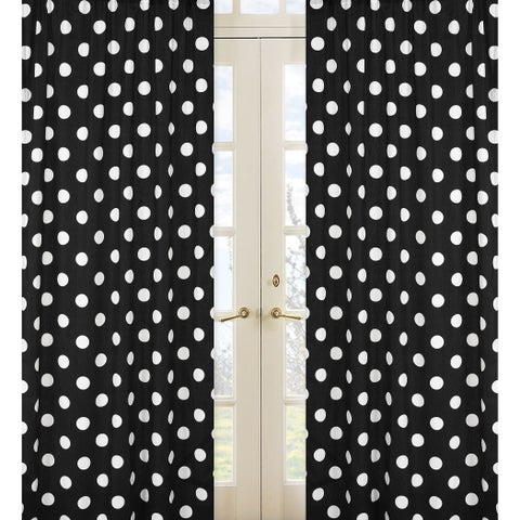Sweet Jojo Designs Black and White 84-inch Window Treatment Curtain Panel Pair for Hot Dot Collection - 42 x 84