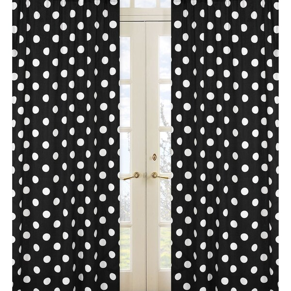 Sweet Jojo Designs Black and White 84-inch Window Treatment Curtain Panel Pair for Hot Dot Collection