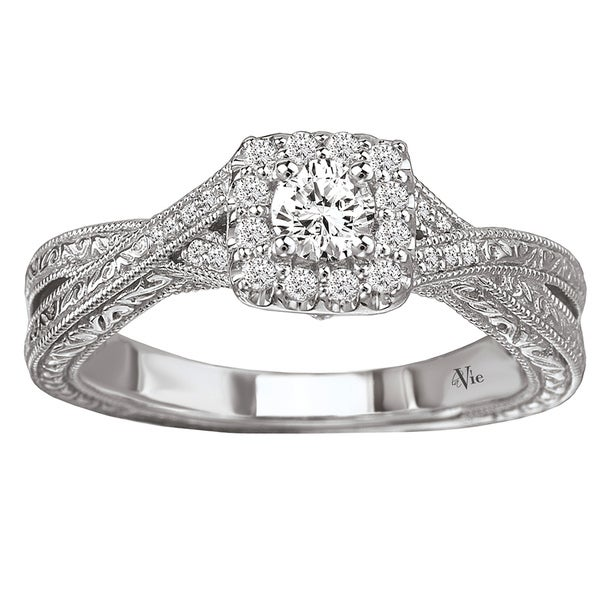 Avanti 14k White Gold 3/8ct TDW Diamond Halo Engagement Ring (G-H, SI1-SI2)