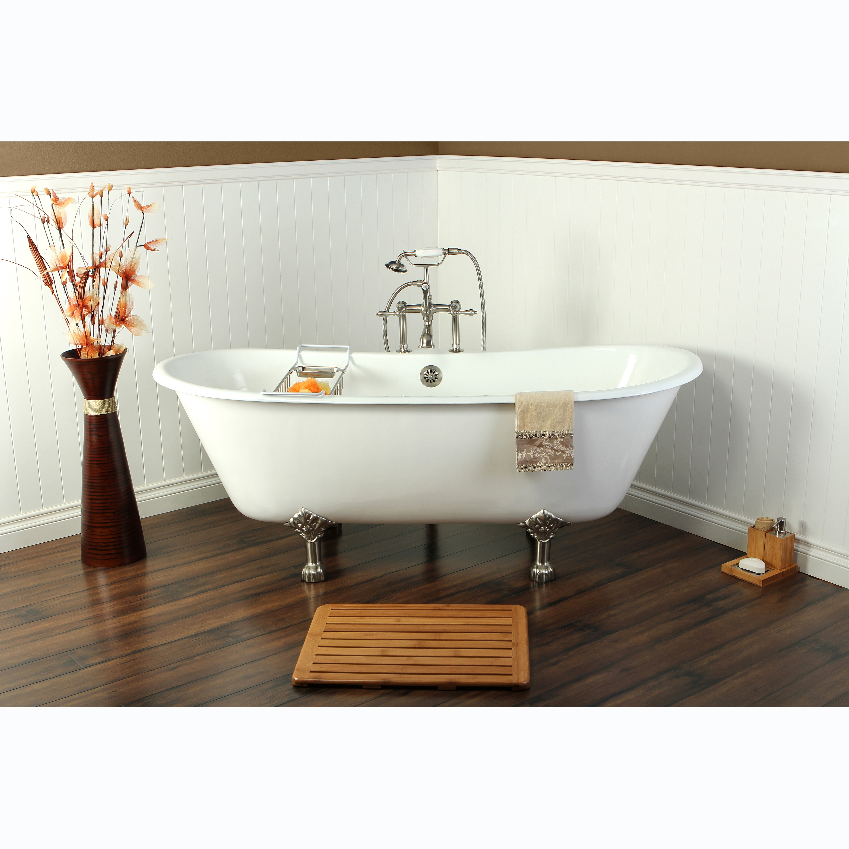 67 Inch Cast Iron Double Slipper Clawfoot Bathtub