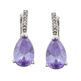 City by City City Style Silvertone Purple and White Glass Earrings